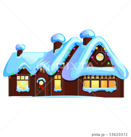 Set of cozy rustic small houses with glowing windows and Christmas decorations isolated on white 53620372
