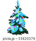 Green Christmas tree with glowing garland, glass baubles isolated on white background. Sample of 53620379