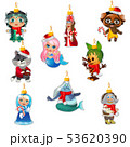 Set of colorful painted glass figurines characters of famous fairy tales isolated on white 53620390