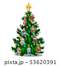 Green Christmas tree with colorful painted figurines of characters from famous fairy tales isolated 53620391