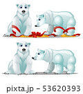 A set of animated polar bears and a festive red ribbon bow isolated on white background. Sample of 53620393
