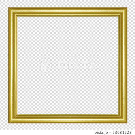 Golden wooden frame isolated on transparen 53631228