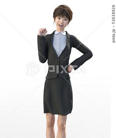 ビジネススーツを着た若い女性 perming3DCGイラスト素材 53638926
