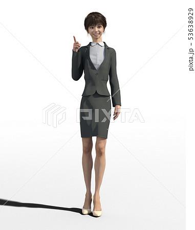 ビジネススーツを着た若い女性 perming3DCGイラスト素材 53638929