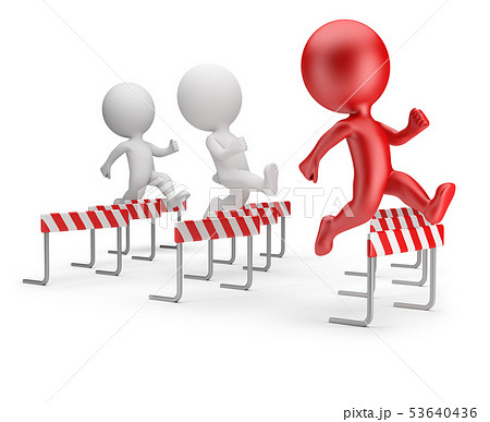 3d small people - running with obstacles 53640436