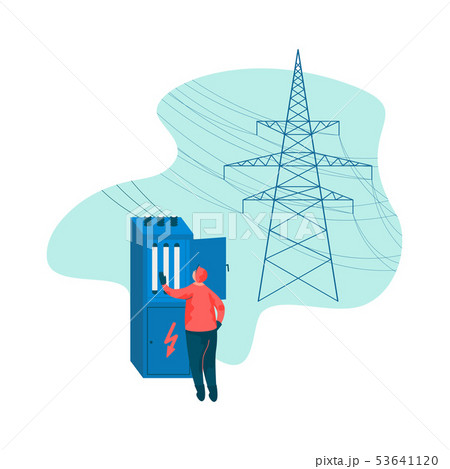 Electrical Engineer and Power High Voltage Tower Vector Illustration 53641120