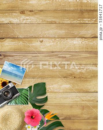 背景-海-夏-ビーチ-モンステラ-プルメリア-ハイビスカス-麦わら帽子-木目-カメラ-思い出 53641717