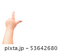 Child's hand on white background.child points 53642680