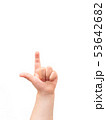 Child's hand on white background. child points 53642682