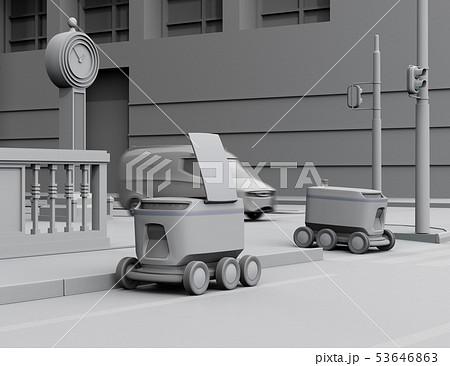 大都市交差点の近くに荷物の引き渡しを待機している配送ロボットのクレイレンダリングイメージ 53646863