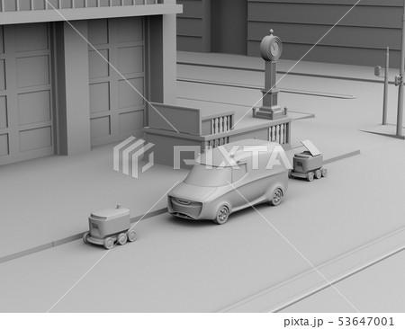 交差点の近くに配達中の宅配車と配送ロボットのクレイレンダリングイメージ 53647001