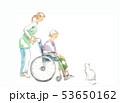 車椅子のおばあさん、介護と猫 53650162