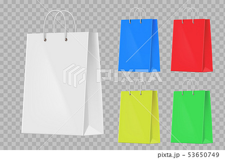 Set of colorful paper shopping bags. Isolated on a 53650749
