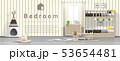 Modern kids bedroom with wooden bunk bed 53654481