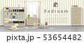 Modern kids bedroom with wooden bunk bed 53654482