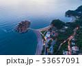 aerial view of Sveti Stefan island in Budva, Montenegro 53657091