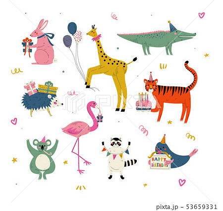 Cute Animals Wearing Party Hats with Birthday Cakes and Gift Boxes Set, Cute Bunny, Giraffe 53659331