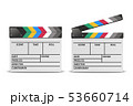Vector 3d Realistic Blank Closed and Opened Movie Film Clap Board Icon Set Closeup Isolated on White 53660714