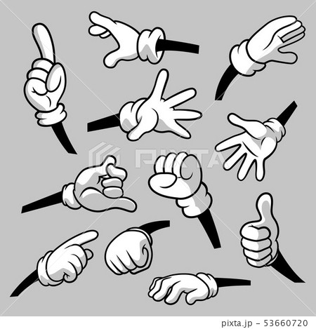 Cartoon hands with gloves icon set isolated. Vector clipart - parts of body, arms in white gloves 53660720