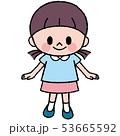 ポーズ 女の子 笑顔のイラスト 53665592
