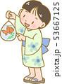 金魚を持つ男の子 53667125