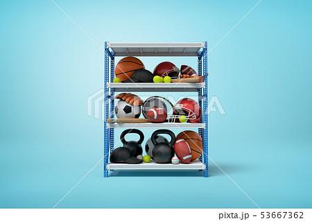 3d rendering of sports balls, helmets and kettlebells on metal rack shelves on blue background 53667362