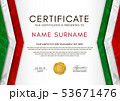 Certificate template with Italian flag (black, red 53671476