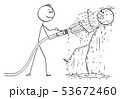 Vector Cartoon of Man or Businessman Holding Fire Hose and Shooting Water on Another Man 53672460