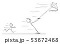 Vector Cartoon of Father Flying Kite and Pulled Away in Strong Wind 53672468