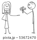 Vector Cartoon of Man Offering Flowers and Love to Woman on Date 53672470