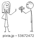 Vector Cartoon of Angry Woman Rejecting Flowers and Love Declaration from Man in Love 53672472