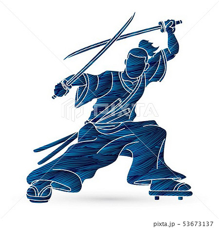 Samurai standing ready to fight with swords  53673137