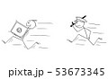 Vector Cartoon of Man or Businessman Thief Running with Bank Vault or Safe, Policeman is Chasing Him 53673345