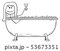 Vector Cartoon of Woman Relaxing in Batch Tub with Glass of Wine 53673351