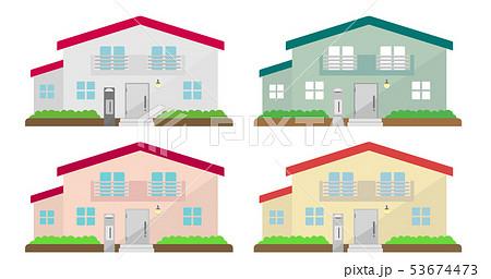 2階建て住宅イラスト 色違いセット (マイホーム・一戸建て・新築・不動産)のイラスト素材 [53674473] - PIXTA