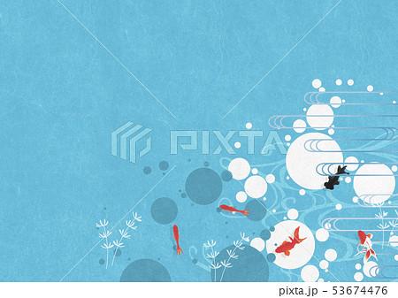 背景素材-夏イメージ-和モダン-水玉-金魚-アクアリウム 53674476