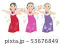 フラダンスを踊るシニア女性 53676849