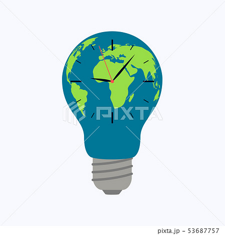 Light bulb world map with clock 53687757