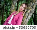 Young beautiful european woman, portrait, natural 53690705