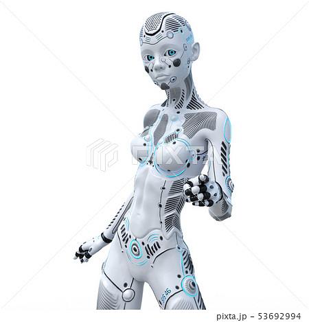 アンドロイド 人型ロボット 女性 perming3DCGイラスト素材 53692994