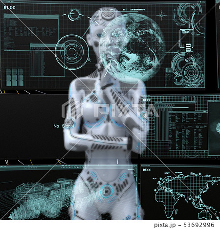 アンドロイド 人型ロボット 女性 perming3DCGイラスト素材 53692996