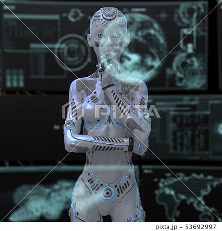 アンドロイド 人型ロボット 女性 perming3DCGイラスト素材 53692997