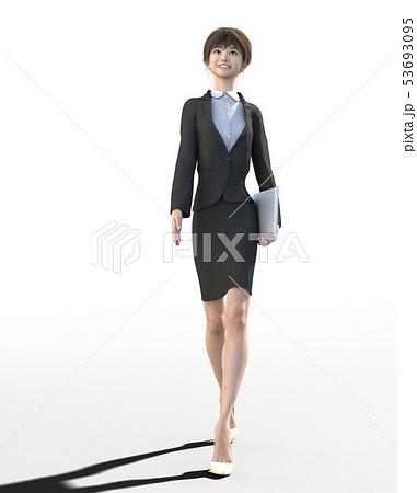 ビジネススーツを着た若い女性 perming3DCGイラスト素材 53693095