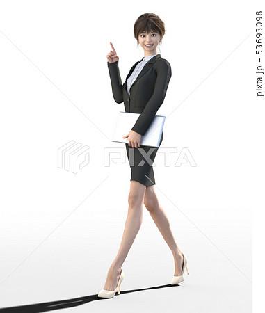 ビジネススーツを着た若い女性 perming3DCGイラスト素材 53693098