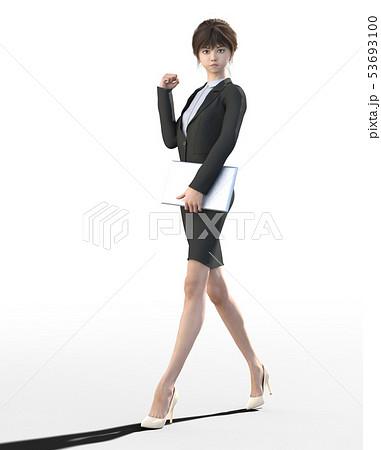 ビジネススーツを着た若い女性 perming3DCGイラスト素材 53693100