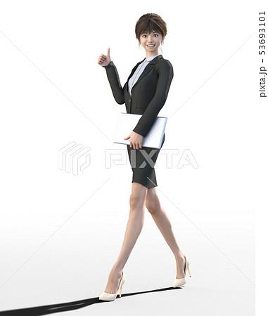 ビジネススーツを着た若い女性 perming3DCGイラスト素材 53693101