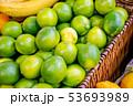 Citrus fruits at the market display stall 53693989