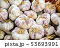 Garlic at the market display stall 53693991