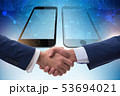 Concept of communication with businessmen handshaking 53694021