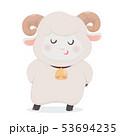 Cute sheep smiling, Vector flat line cartoon 53694235
